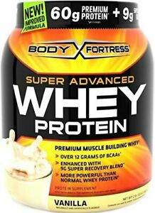 (QTY OF 1 JAR)Body Fortress, Super Advanced Whey Protein Powder, Vanilla, 2LB