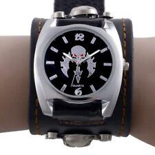Men Steampunk Rock Quartz Wrist Watch Black Leather Band Wristwatch Gothic Skull