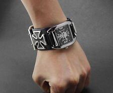 Black cool Punk Biker Skull Chain Leather Bracelet Watch Wristwatch