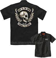 Velocitee Mens Mechanic Garage Work Shirt Bad To The Bone Biker Skull W15062