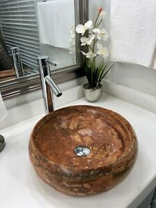 Modern Natural Stone Bathroom Vessel Sink round red travertine marble