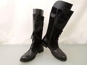 LAZAMANI Designer Leder Wildleder Stiefel Gr.38 Boots Reptilprägung Schwarz