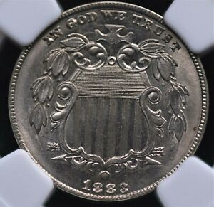 1883 SHIELD NICKEL NGC MS 63 CRISP SILVERY LUSTER COMPLIMENTS A GREAT STRIKE