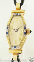 ART DECO DAMEN ARMBANDUHR IN 14ct GOLD - MIT SAPHIREN & DIAMANTEN - 1920er JAHRE