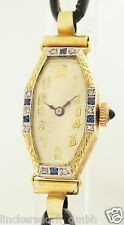 ART Deco Donna Orologio da polso in 14ct oro-Con Zaffiri & Diamanti - 1920er anni