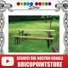 SET BIRRERIA TAVOLO + 2 PANCHE STRUTTURA IN ACCIAIO PIANO IN LEGNO MASSELLO