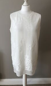 Per Una Ladies White Lined Crotchet Sleeveless Top 14 Long Fit