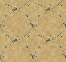 Wallpaper Designer Golden Tan Faux with Black Leaf Scroll Trellis Lattice