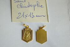 1 ancienne superbe médaille plaqué or  FRANCE St Christophe poinçon fd stock