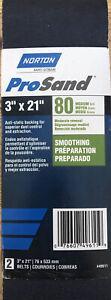 "3"" X 21"" 80 Grit Medium Sanding Belts Norton ProSand BlueFire - 2 Pack #49611"