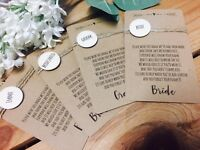 Rustic Personalised Wedding/Party Name Place Badge & card- great fun!