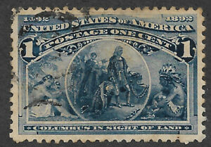 US # 230 (1893) Columbus in Sight of Land 1c - Thin - Used - VF/XF