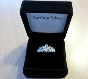 New 925 Sterling Silver 7 cz Stone MARQUISE BAND RING Wedding Engagement SIZE 10