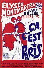 """""""ELYSEE MONTMARTRE SHOW: ça c'est Paris"""" Affiche d'intérieur originale entoilée"""