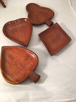 Vintage Card Suit Wooden Bowls Set of 4 Hearts Clubs Diamonds Spades Poker
