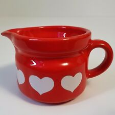 Vintage Waechtersbach of West Germany Red with White Hearts Pottery Creamer