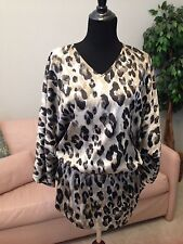 Chico's Animal Print Tunic With Kimono Sleeve, Size 1 = (8/10 or M)