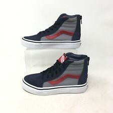 NEW Vans Sk8-Hi Zip Pop Parisian Night Sneakers Lace Up Suede Navy Grey Kid 13.5