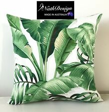 Tommy Bahama Indoor/Outdoor Green and White Tropical Palm Leaf Cushion Cover