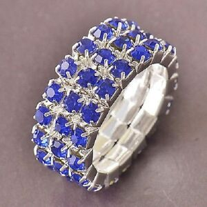Blue CZ 9K Real White Gold Filled Womens Ring Size 7,F5059