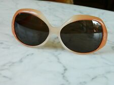 Vintage 1960's Italian Peach Colored Lucite Oversized Sunglasses Jackie O Pinup