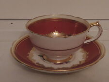 Vintage Petite Paragon Red & Gold Cup & Saucer Pink Roses Teacup Fine Bone China