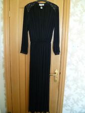 John Charles long black dress gown uk 10 vintage retro sequins crinkle pleat vgc