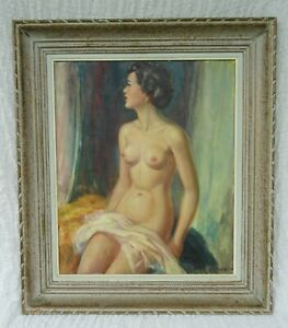 Albert Genta French Vintage Nude Naked Lady Portrait Oil Painting 1901-1989