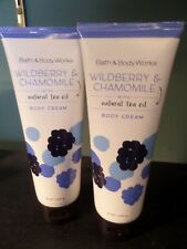2 Bath & Body Works WILDBERRY & CHAMOMILE Body Creams with Natural Tea Tree Oil