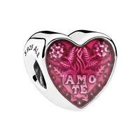 Genuine Pandora Bead Sterling Silver Latin Love Enamel Heart 792048E