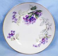 Sone China Lilac Fruit Dessert Bowl Porcelain Gold Trim Purple Lilacs Japan