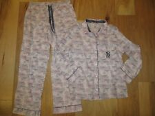 VICTORIA'S SECRET LIGHT PINK SNOWFLAKES FLANNEL DREAMER PAJAMAS SLEEP SET NWT M