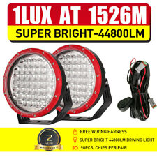 RED 9inch OSRAM LED Driving Lights Pair Round Combo Spot Flood Work Offroad SUV