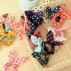 10 Pcs/lot Cute Bunny Flower Headbands Rabbit Ears Dot Head wear Elastic Hair Ro