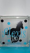 """Horse with Name & Dots Decal sticker for 8"""" Glass Block Shadow Box"""