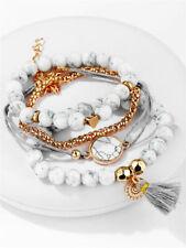 4Pcs/Set Trendy Marble Beads Tassel Handmade Bohemian Charm Bracelet Jewelry Kit