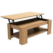 MODERN WOODEN LIFT-UP COFFEE TABLE RECTANGLE TEA EASY STORAGE W/ UNDERSHELF OAK