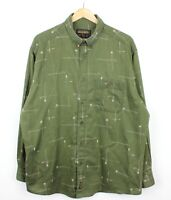 Woolrich Vintage Mens Long Sleeve Green Fishing Print Button Shirt - Size XL