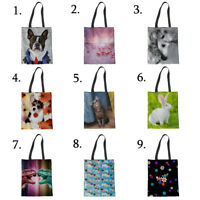 Lady Handbag Girls Canvas Tote School Shoulder Book Bag Shopper Animal Cloth Bag