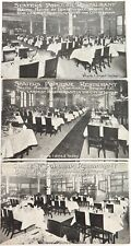 ".c1900 SCARCE SET 3 ""SLATERS POPULAR RESTAURANT, LONDON"" UNUSED POSTCARDS."