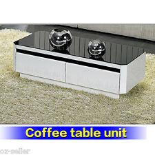 Stylish Modern High Gloss  Black White Coffee Table Drawer Cabinet 1.3M New