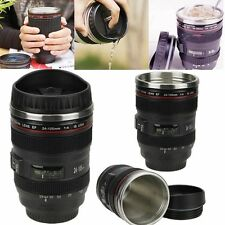 Black Camera Lens Thermos Mug Tea Water Liner Travel Thermal Coffee Cup *1set LN