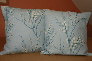 TWO  HANDMADE CUSHION COVERS IN LAURA ASHLEY PUSSY WILLOW SEASPRAY