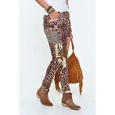 Ralph Lauren Denim Supply Women Leopard Cheetah Patchwork Repair Distress Jeans