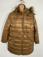 BNWT WOMENS PRIMARK BROWN ZIP UP PADDED PUFFER HOODED WINTER COAT JACKET UK14-16