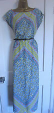 PRIMARK LADIES YELLOW BLUE WHITE GREEN FLORAL BELTED LONG MAXI DRESS SIZE 6