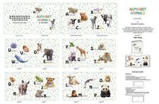 Elizabeth's Studio ~ Realistic Baby Animals ABC ~ 100% Cotton Fabric Book Panel