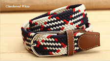 Men Women Braided Canvas Woven Waist Belt Cotton Elastic Leather Pin Buckle Tops