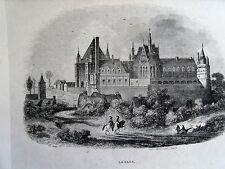 Bi1-1 Gravure 1845 chateaux historiques par Théodore Frère - Gaillon