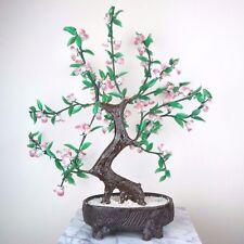 "Glass Artificial Flowers Bonsai Plant - Pink White Green Porcelain Pot 18""H New"